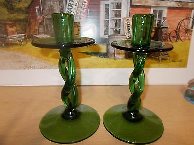 """vintage green twisted glass candle sticks 8"""""""