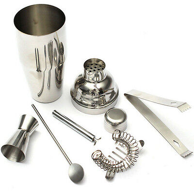 Bartender Stainless Steel Bar Set Cocktail Mixer Shaker Martini Tools Drink Kit