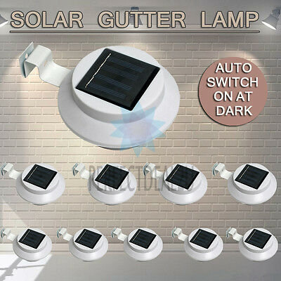 White 10x Solar Powered Gutter Light Fence Garden Yard Outdoor Wall Pathway Lamp