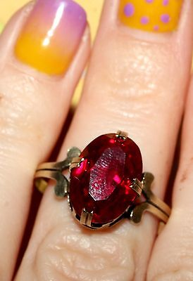LARGE RUBY Vintage RING Silver 875 Gold Plated USSR Antique!