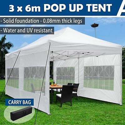 3x6m Outdoor Pop Up Canopy Folding Gazebo Party Market Marquee Tent Shade White
