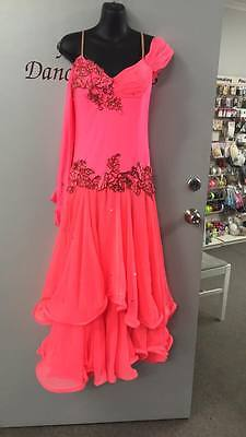 Womens watermelon pink ballroom competition dancing dress size 10-12