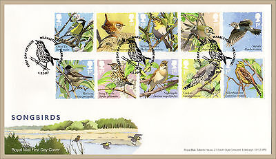 2017 SONGBIRDS STAMP SET FDC FIRST DAY COVER - Warbleton Handstamp