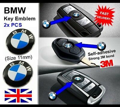 2 X Bmw Remote / Key Fob Badge Logo Emblem Sticker 11Mm For 1 3 5 6 7 M3 M5 X5 M