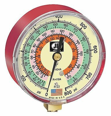 JB Industries Gauge, 3-1/8 In Dia, High Side, Red, 800 psi - M2-825