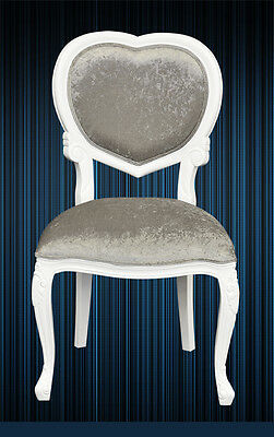 French Louis XV Medee  -  Heart Chair  - White  in crushed silver velvet