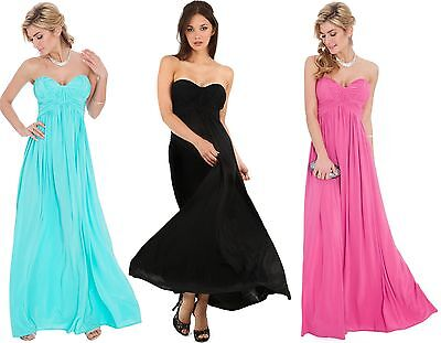 Womens Long Maxi Evening Formal Sweetheart Bandeau Cocktail Party Dress 8-14