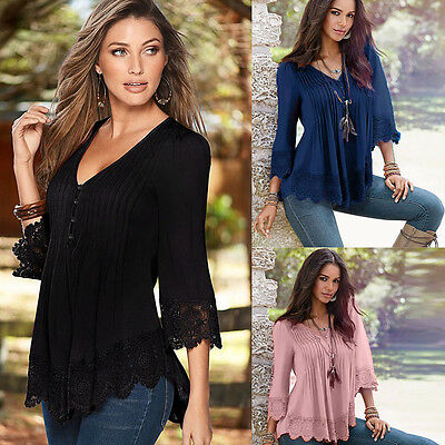 Women Lace V-neck Top Crochet Long Sleeve Pleated Shirt Casual Blouse Tops CA