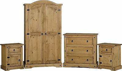 Corona Rustic Solid Pine 4 Piece Bedroom Set Waxed Pine Wardrobe+Chest+Bedsides