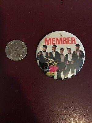 """New Kids On The Block Button Vintage Official Fan Club Button """"member"""""""