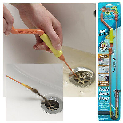 Brand New Easy Sink Drain Cleaner Weasel Unblock Hair Clogs And Waste Starter