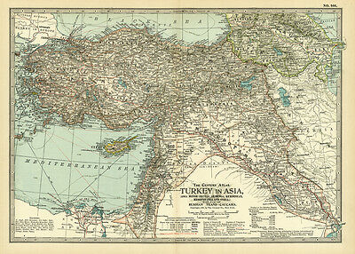 1899 Century Turkey Asia Minor Anatolia Armenia Original Antique Color Map