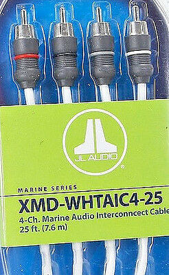 JL AUDIO XMD-WHTAIC4-25 Marine Boat 25 ft. 4-Channel RCA Interconnect Cable NEW