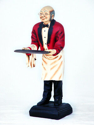 Waiter Old Man - Butler Statue - Old Man Butler Statue - Waiter w/ Tray 3FT