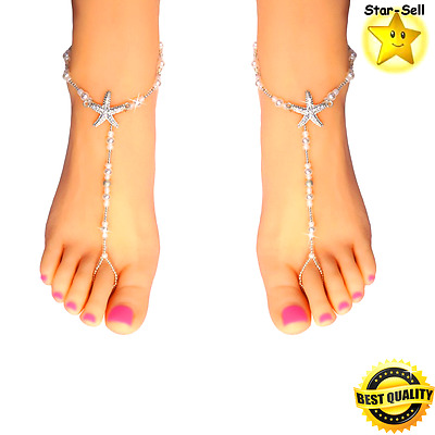 Starfish Barefoot Sandals Bridal Foot Jewelry Beaded Beach Destination Footless