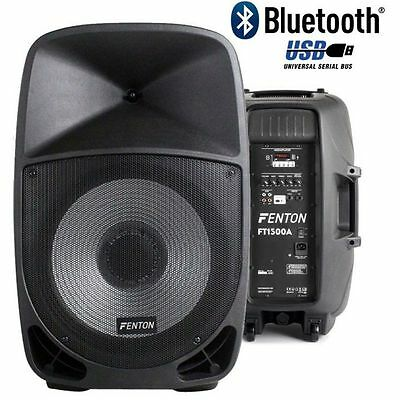 "Coppia Casse Amplificate Professionali Abs 1400W Woofer 15"" 38 Cm Con Led + Blue"