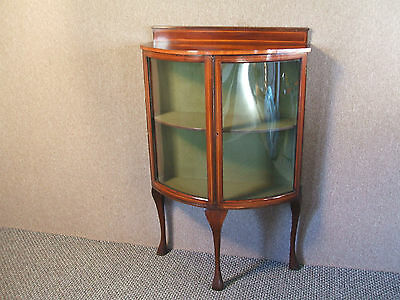 Quality Petite Inlaid Mahogany Bow Fronted Display Cabinet
