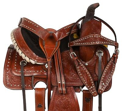 Used Gator Print Cross Leather Headstall Breast Collar Western Horse Tack Set