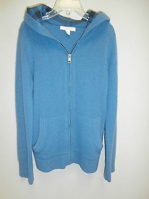 BURBERRY CHILDREN Blue Cashmere Hooded Sweater 10
