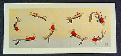 KUNIO KANEKO Huge Japanese Woodblock Print LA LA LA COME DANCING  (KOI)
