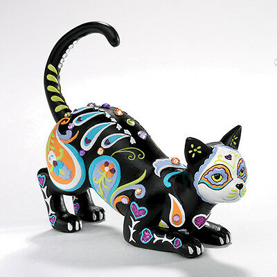 Cat-tivating Peaceful Friend Sweet Sugar Skull Cat Figurine - Bradford Exchange