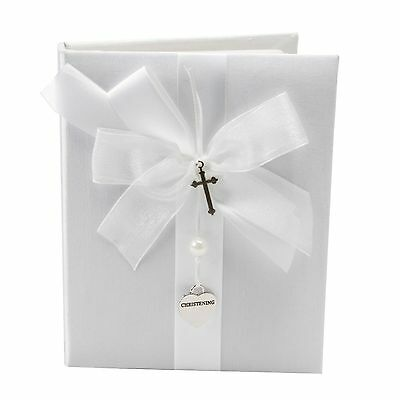 White Christening Day Baby Photo Album With Cross & Heart Charms Gift CG742