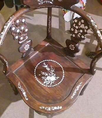 Antique Chinese Rosewood Hand Made Corner Chair Inlaid Mother Of Pearl Mop Old