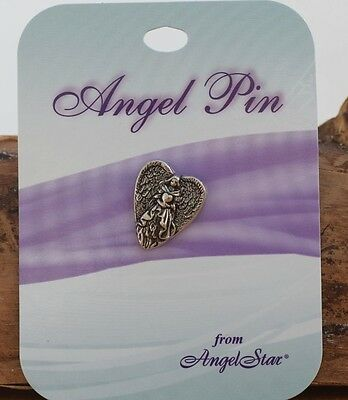 Heart Shaped Angel pin. 15827