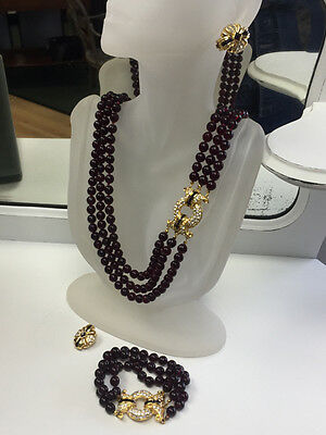 Nolan Miller Triple-Strand Bordeaux Faux Garnet Necklace Bracelet Earrings SET