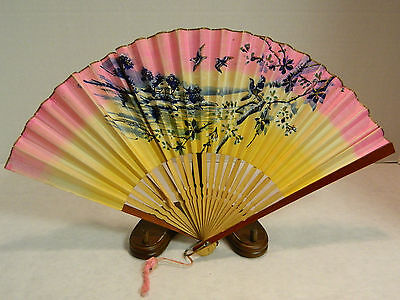 """Vintage Bamboo & Hand Painted Paper Hand Fan 16"""" x 9"""" Very Good Condition Japan"""