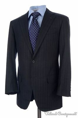 SID MASHBURN Gray Striped 100% Wool Jacket Pants SUIT Mens Hand Tailored - 38 R