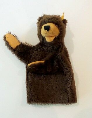 VINTAGE 1950's-60's STEIFF MOHAIR BROWN BEAR HAND PUPPET, BUTTON IN EAR