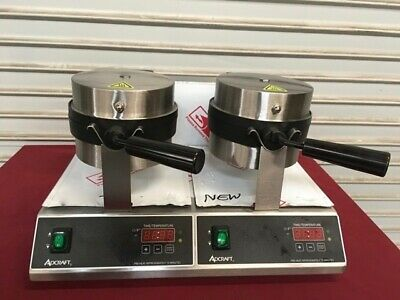 """7"""" Round Double Belgian Waffle Maker Adcraft BWM-7/R-2 #6300 Commercial Machine"""