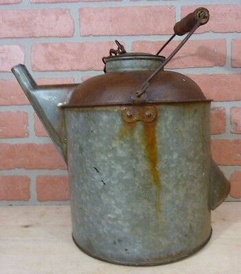 Old Pennsylvania Railroad Water Can Bucket PRR Metal with Wooden Handle Embossed