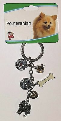 Pomeranian Dog Key-chain Key Ring 6 Charms by Little Gifts
