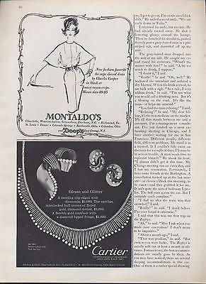1962 Montaldos Charles Cooper & Cartier detailed jewelry set PRINT ADs 2 for 1