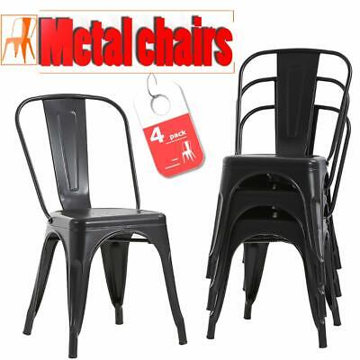 Set of 4 Metal Frame Tolix Style Bar Stool Chair With Back CB4