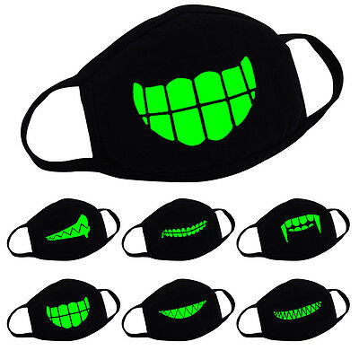 Skull Teeth Luminous Cotton Face Mouth Muffle Mask Supply Party Anti Dust J2Y5