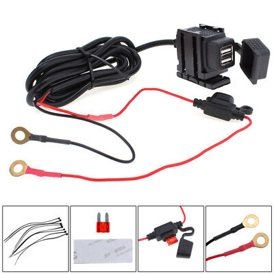 Waterproof Dual USB 12V Motorcycle Handlebar Phone Power Charger Outlet Socket