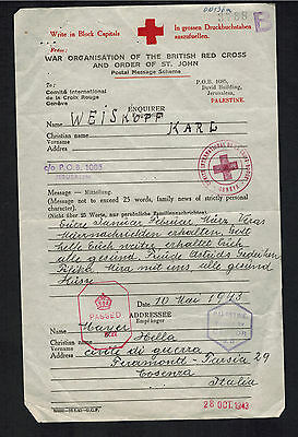 1943 Jerusalem Palestine Red Cross Inquiry Ferramonti Italy Concentration Camp