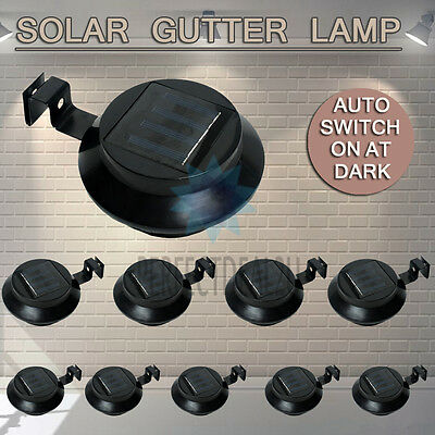 Black 10x Solar Powered Gutter Light Fence Garden Yard Outdoor Wall Pathway Lamp
