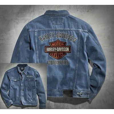 "Harley-Davidson Bar and Shield Denim Jacket Blue XL Extra Large 46""- 49"" Chest"