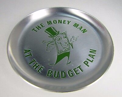 Vtg THE MONEY MAN AT THE BUDGET PLAN Advertising Tray General Finance Service Co