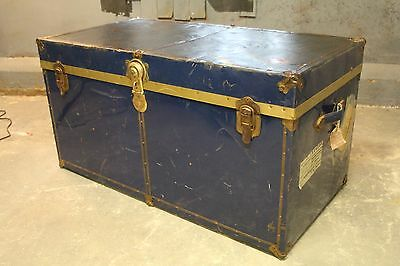 Blue Trunk Metal Chest Coffee Table box storage vintage retro metal