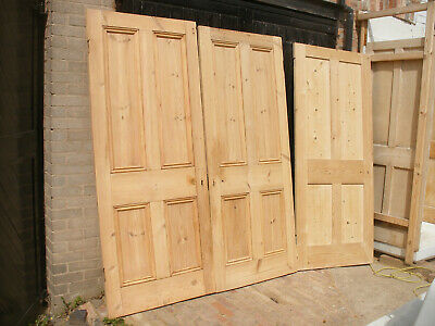 Large reclaimed Victorian 4 panel stripped pine doors.  (6 available)