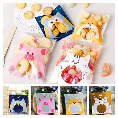 Self-adhesive Packaging Bags Cute Animals Cake Candy Biscuits Cookies 100Pcs