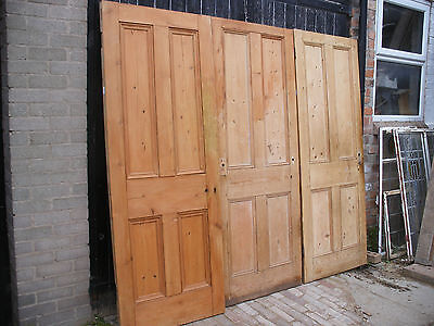 Reclaimed Victorian 4 panel stripped pine doors unrestored.  (6 available)