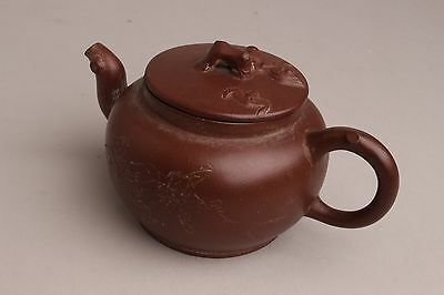 Wonderfull Chinese Yixing Teapot 19th C caligraphy Bats marked.