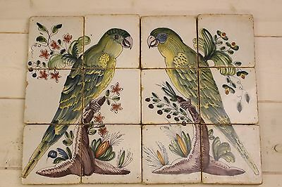 Pair of Colored Old Dutch Delft Fireplace tiles of Birds / Parrots