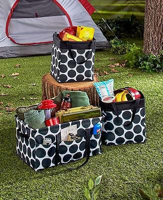 3 Piece Black Polka Dot Tote Bag Storage Tote Laundry Organizing Travel